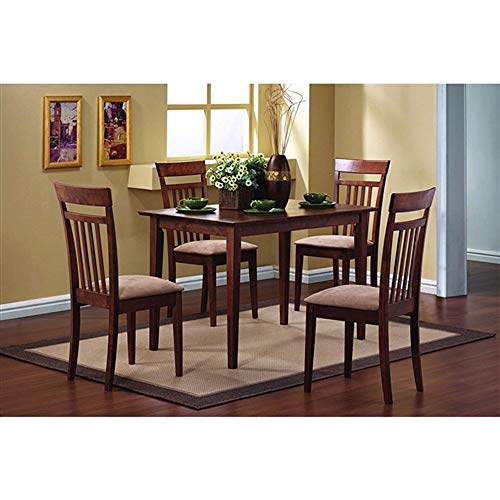 New Chestnut Wood Finish - CHOOSEandBUY Classic 5-Piece Dining Set with Rectangular Table and 4 Chairs in Chestnut Wood Finish New Sturdy Classic Elegant Furniture