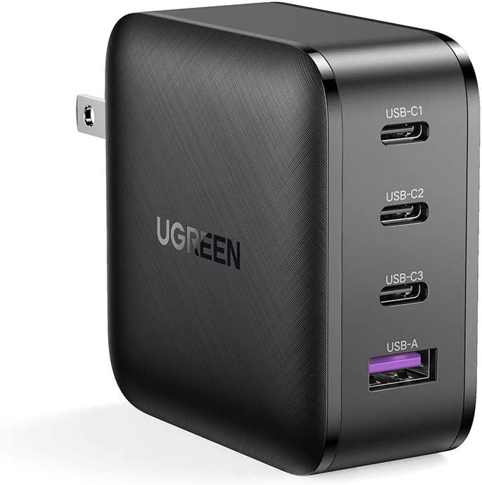 UGREEN USB C Charger 65W 4-Port PD Charger[GaN Tech] Fast Charging for MacBook Pro Air, iPad, iPhone 12 Pro 11 Pro Max XR XS SE, Galaxy S20/S10/Note 20, Pixel, Nintendo Switch