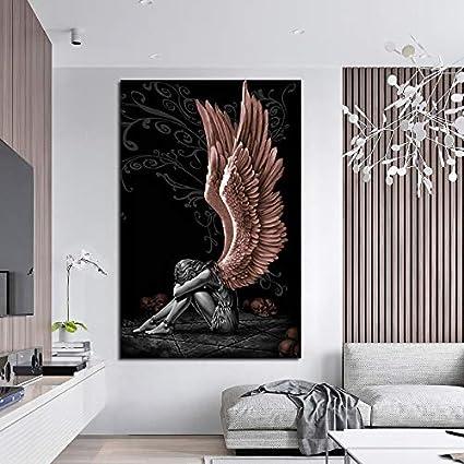 : 20x40cm No Frame Color : 1, Size Inch SFGSGH Engel und Teufel-Leinwand-Malerei Abstrakt Portr/ät Wand-Kunst-Bild Home Decoration Gem/älde Wohnzimmer Poster Malerei