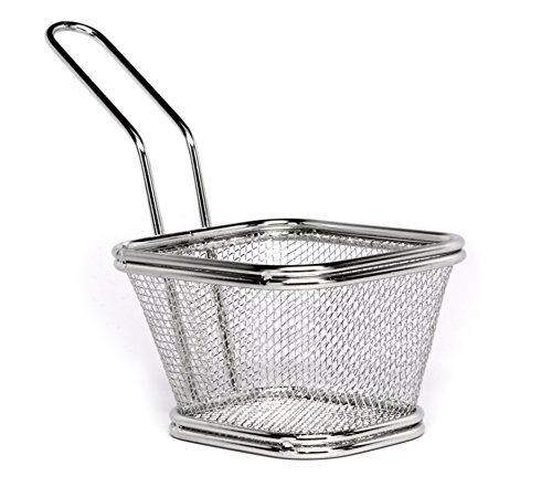 Small Fryer Basket - Mini French Fry Basket - Food Grade Presentation Tableware - Stainless Steel - 5 Inches - 1ct Box - Restaurantware