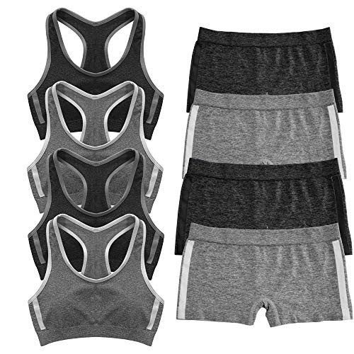 Popular Girl's Seamless Racerback and Boyshort Set - 4 Pack - Black and Grey - M (Popular For Girls)