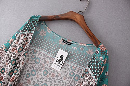 Chemise Beikoard Lache en Top Vetement pour Vert Chemise t Promotion de Soie Blouse Cardigan Kimono imprim Hauts Haut Dcontract Chale Femme Plage Sexy Mousseline Femmes de OrW6qO7Cxw
