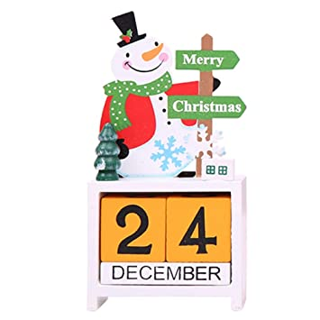 Topanke Navidad hölzerne Calendario Decoración Papá Noel/Alce ...