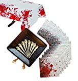 Zombie Blood Spatter Essential Halloween Party Supply Pack for 16 Guests Including 9inch Square Plates, Large Napkins, Skeleton Food or Cupcake Picks Table Cover. Survive your zombie invasion (69 pcs)