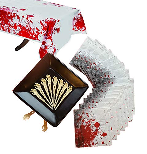 Zombie Blood Spatter Essential Halloween Party Supply Pack for 16 Guests Including 9inch Square Plates, Large Napkins, Skeleton Food or Cupcake Picks Table Cover. Survive your zombie invasion (69 pcs)]()