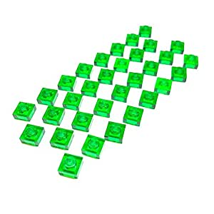 "Lego Parts: Plates ""1 x 1 Stud"" (Service Pack 3024 - 32 Transparent Green)"