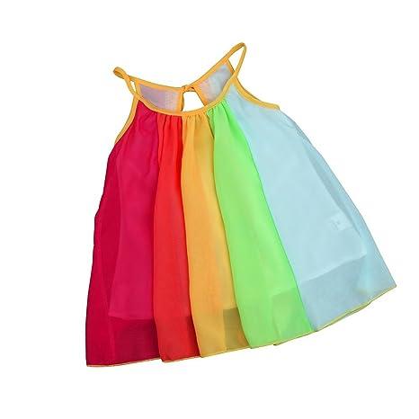 feiXIANG Vestido de niña bebé niños niña Gasa Arco Iris Vestido de la Correa del Vestido