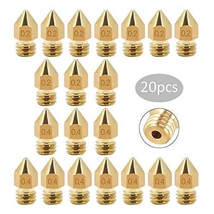 20 Piezas de Boquilla MK8 Extrusoras de Impresora 3D Tama/ños Diferentes 0,2 mm 0,4 mm para 1.75mm,3mm PLA ABS Filamento
