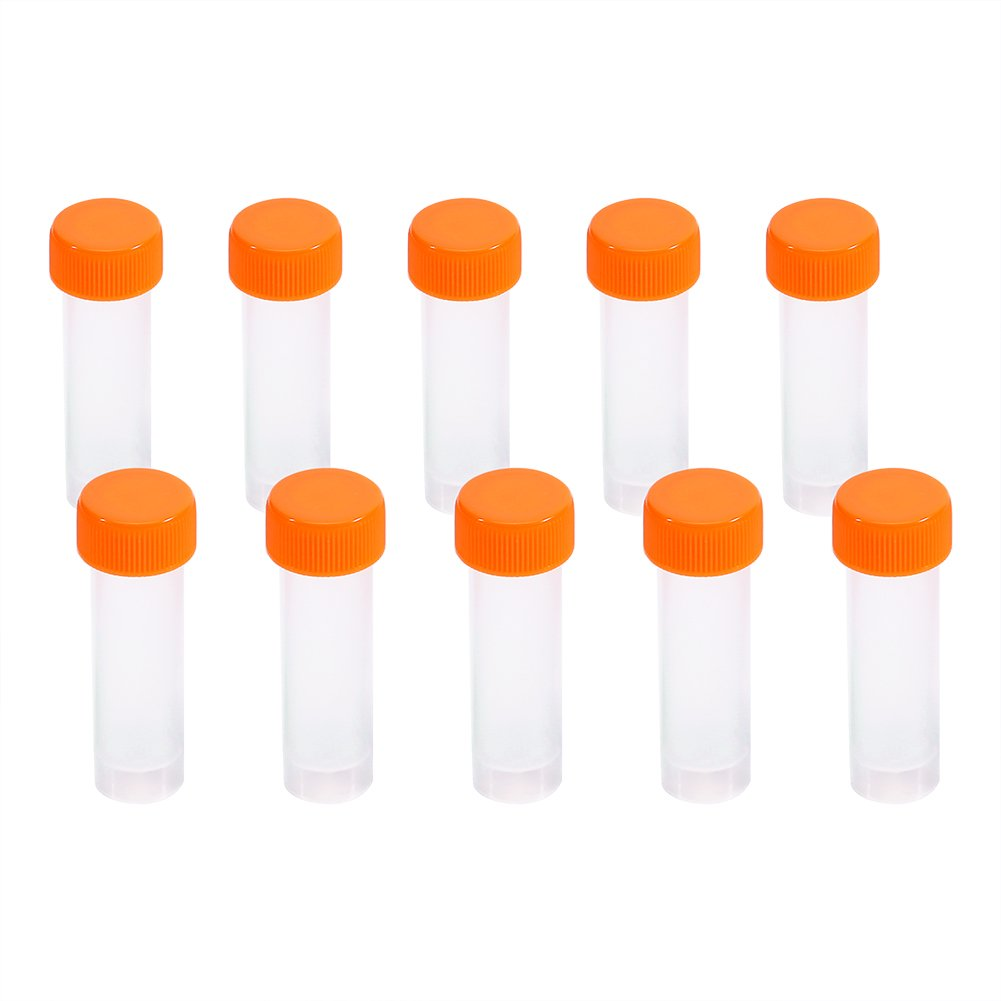 Plastic Frozen Test Tubes Vial Screw Seal Cap Pack Container with Silicone Gasket 10 Pcs 5ml Zerone