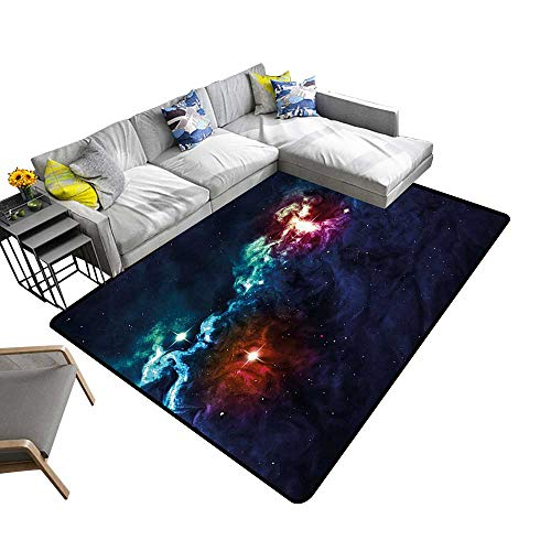 (Super Cozy Bathroom Rug Carpet Glamour Elegance Milky Way Alluring Cosmos Lights Display Provides Protection and Cushion for Floors 6' X 9')