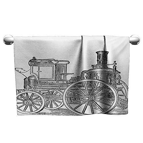(Antonia Reed Spa Towel,Steam Engine,Old Fireman Truck Drawing Effect Picture British Antique Transport,Charcoal Grey White Super Soft Quick Dry and Highly Absorbent Towels,10