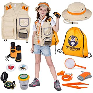 Kids Explorer Kit | Premium Kids Camping Toys and Outdoor Adventure Kits for Boys and Girls, 3-12 Years Old | Backyard Safari Vest & Hat, Kids Binoculars, Flashlight, Bug Kits for Kids, Compass, Ebook