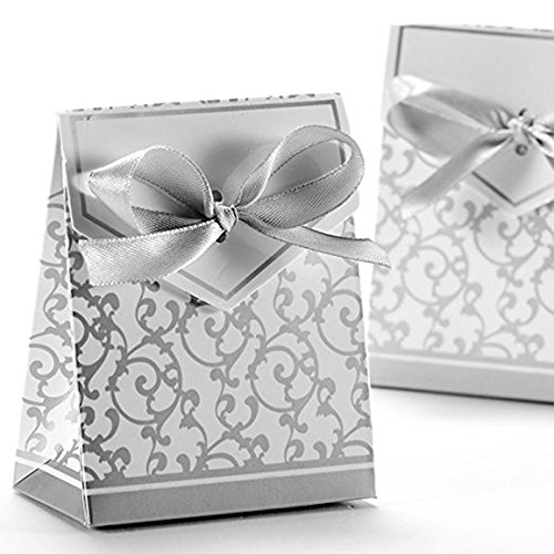 Ehonestbuy 100pcs Candy Favor Boxes Bonbonniere with Chic Ribbon, Flowers Vines Paperboard Gift Box for Wedding Party Birthday Baby Shower Candy Decoration (Silver)