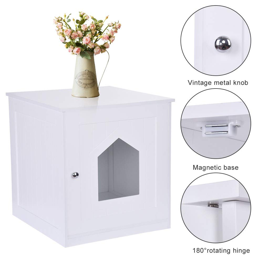 giokfine Cat Litter Box Enclosures, Decorative Cat House Side Table Pet Nightstand Crate Cat Litter Box Enclosures