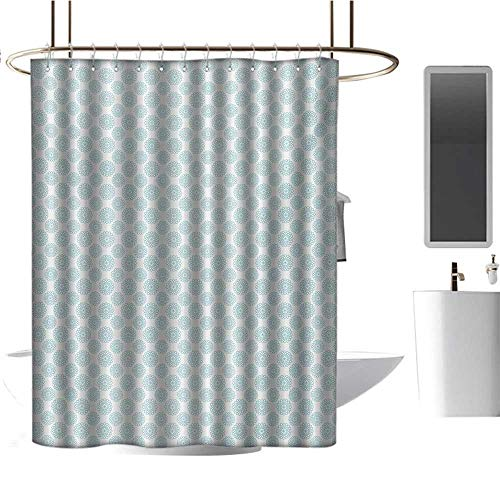 Qenuan Vintage Shower Curtain Pale Blue,Elliptical Shapes with Star Like Symbols Inside Wavy Bold Chain Pattern,Pale Blue White,Eco-Friendly,Bathroom Curtain 47
