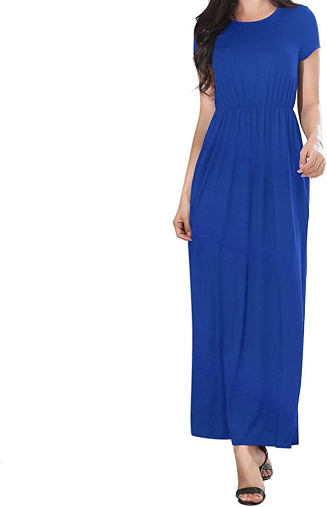 Women Summer Dresses Bohemian Casual Slim Fit Solid Color Beach Maxi Long Dress with Pockets