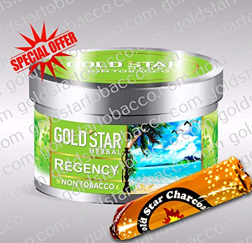 GOLDSTAR Herbal Non Tobacco Smoke Regency Flavor Premium Hookah Shisha Nargila 200 gm + 1 Roll Goldstar Charcoal for Free