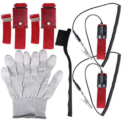 Kuaiqu 6 Pack Anti Static Wrist Band Grounding Wire and Alligator Clip Kit with Anti-Static Gloves Nylon ESD Brush ()