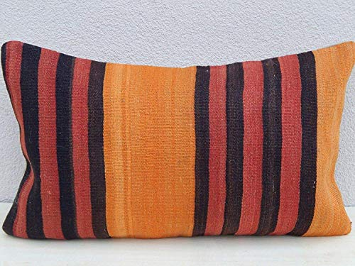 - Orange Rustic Pillow, Antique Pillow Made Out of a 19th Century Anatolian Pillow, Wool Tribal Design Striped Kilim Rug Cushion Cover Ethnic Turkish Pillowcase 14'' x 24'' (35 x 60 Cm)