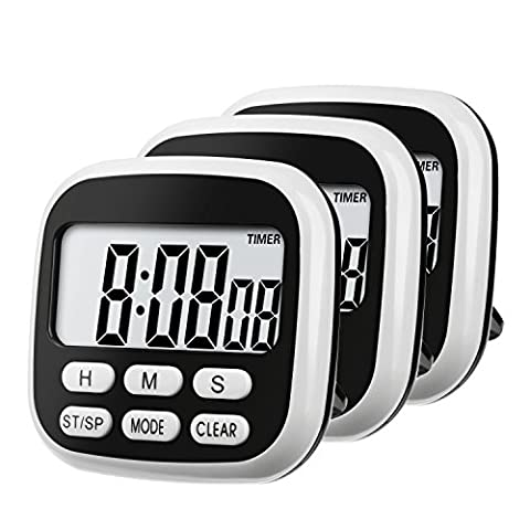 Mudder 24 Hour Digital Kitchen Timer Cooking Timer Clock with Magnet and Big Screen, 3 Pack, Black and (24 Hour Dial Clock)