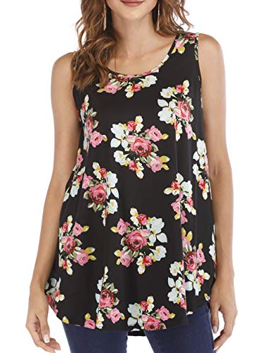 - Haola Women's Sleeveless Tank Tops Swing Tunic Summer Floral Flare Blouse Top Black 3X