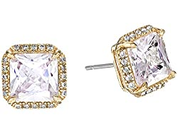 Pave Princess Cut Stud Earrings