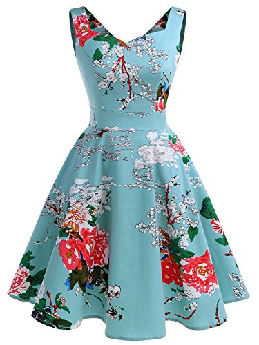 Full Figure Cocktail Dresses (IVNIS RS90031 Women's Vintage A-Line Straps Retro Rockabilly Cocktail Prom Dresses With Pockets Green Flower 3XL)
