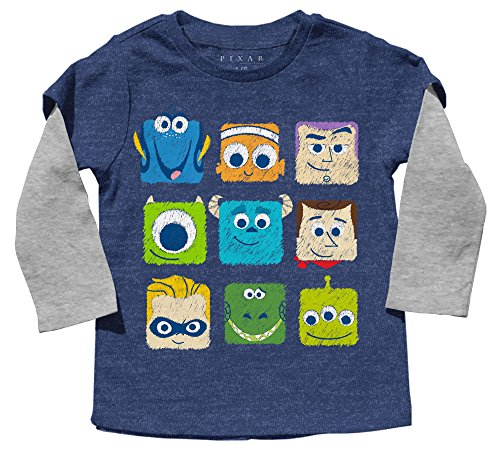 Disney Toddler Boys' Buzz Lightyear and Friends Long Sleeve T-Shirt, Navy Heather/Heather, 2T