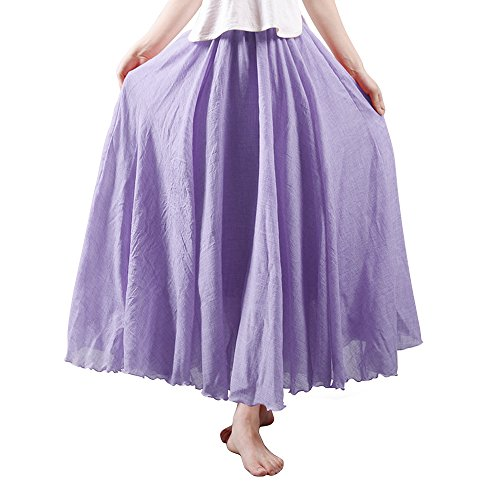 - OCHENTA Women's Bohemian Elastic Waist Cotton Floor Length Skirt, Flowing Maxi Big Hem Violet 95CM