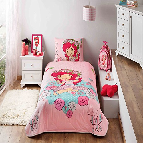 LaModaHome 2 Pcs Luxury Soft Colored Bedroom Bedding 100% Cotton Licensed Single Bedspread Set/Pink Turquoise Strawberry Shortcake Rose Butterfly/Single Bed Size -