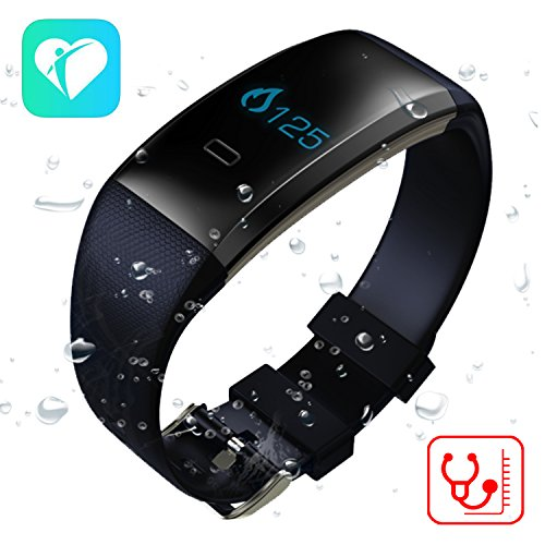 TenTenCo New Arrival Fitness Tracker with Bluetooth 4.0, Blood Pressure/Blood oxygen/Heart Rate Monitor/Sleep Monitor Smart Watch, Work with Android and IOS(Black) (New Arrivals Heart)