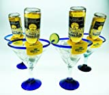 Mexican Glass Margarita Blue Rim 20 Oz with Coronarita Clips Corona Beer Holders (set of 4)