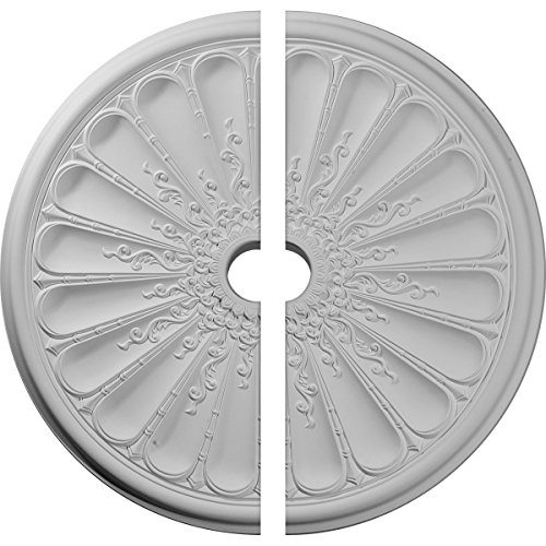 "Ekena Millwork CM31KI2 31 OD ID x 1 1/2"" P Kirke Ceiling Medallion, Two Piece (Fits Canopies up to 3 5/8""), Factory Primed White"