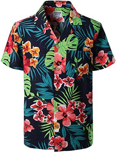 - ZEROYAA Summer Men's Flower Design Casual Button Down Short Sleeve Hawaiian Beach Shirts with Pocket ZLCL02-209 Blue Medium