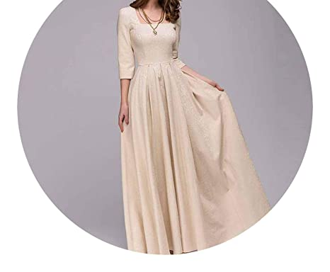 Elegant Vestidos Square Collar Solid Draped Elegant Long Autumn Vintage Dress,, XXL