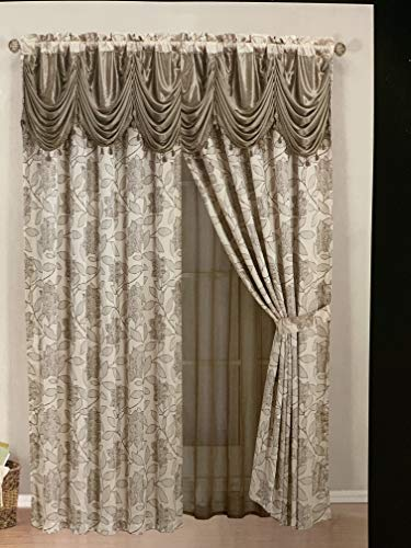 (Elegant Home Beautiful Window Embroidery Curtain Drapes All-in-One Set with Attached Valance & Sheer Backing for Living Room, Bedroom, Dining Room, and Sliding Doors - EHJES (Taupe))