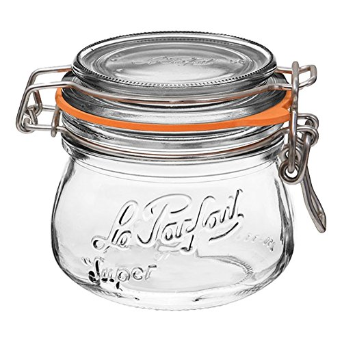 4 Le Parfait Super Jars - New Stainless Steel Wire - Wide Mouth French Glass Preserving Jars with Rounded Bodies, Glass Lids and Natural Rubber Seals - Zero Waste Packaging (4, 250ml - 8oz - SS) (Glass Jar 8 Oz With Lid)