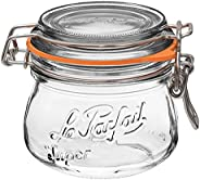 Le Parfait Super Jar - 250ml French Glass Canning Jar w/Round Body, Airtight Rubber Seal & Glass Lid, 8oz/