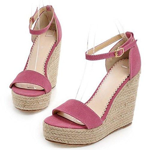 COOLCEPT Damen Mode Hoch Keilabsatz Sommer Sandalen Knochelriemchen Open Toe Schuhe Pink