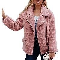 vermers Women Parka Outerwear Clearance - Womens Casual Winter Warm Artificial Wool Coat Zipper Jacket with Pocket