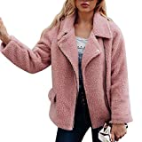 Liraly Womens Tops Clearance New Fashion Womens Warm Artificial Wool Coat Zipper Jacket Winter Parka Outerwear Sweater (Pink,US-10 /CN-XL)