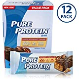 Pure Protein Bars, Healthy Snacks to Support Energy, Low Carb, Gluten Free, Chocolate Peanut Caramel, 1.76 oz (12 Count)