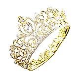 Gold Silver Crystal Heart Rhinestone Headband Crown for Cake Topper Party Wedding Princess Headpiece Tiara (Gold)