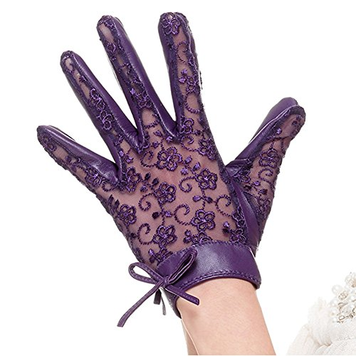 Nappaglo Women's Nappa Leather & Lace Unlined Gloves Bow Decoration Summer Short for Wedding Prom Banquet Party Driving (Small, Purple) by Nappaglo