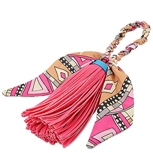 Handbag Decoration - ZOONAI Women Tassel Silk Bowknot Purse Pendant Handbag Bag Hanging Decorations (Rose Red)