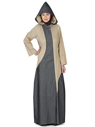 f7e3a26fb4f MyBatua Women's Islamic Stylish Denim Hooded Afifah Abaya in Black & Khaki