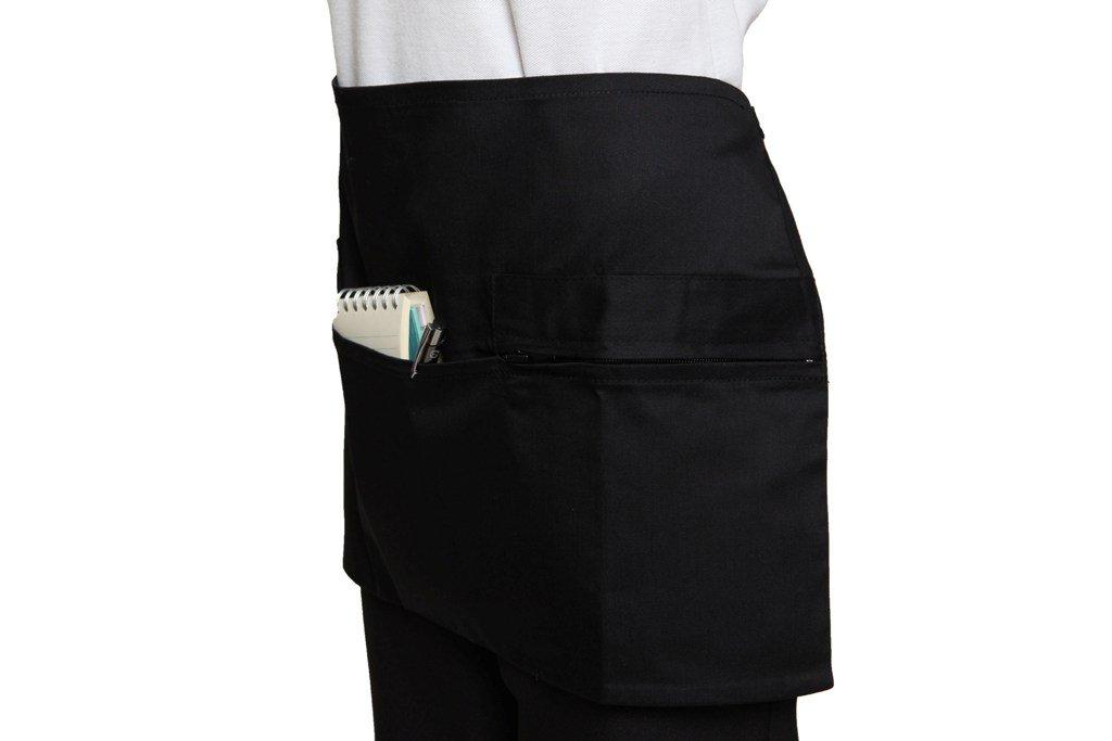 Grembiule con zip tasca chef bar pub ristorante catering Horeca Tabard Tabbard nero Taglia unica Black