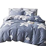 OTOB Kids Star Print Bed Set Full Duvet Cover Cotton 100 for Boys Girls, 3 Piece Plaid Teen Bedding Sets Student Adult with Stars 1 Comforter Cover 2 Pillow Shams Blue White (Full/Queen,Style B)