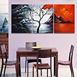 3 Pieces Art Abstract Mountain and Clouds Landscape Paintings Canvas Prints Picture for Living Room60cmx90cmx3p No frame