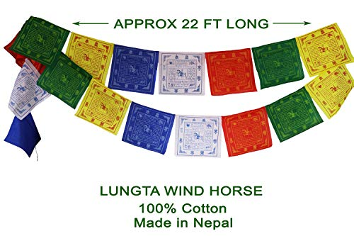 (Tibetan Prayer Flags (9.5 x10) – 100% Cotton Premium Quality Large Roll of 25 Flags – Traditional Design with 5 Element Colors – Handmade in Nepal – Lungta Wind Horse (9.5 x10))